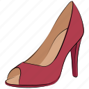 footwear, heel sandals, heel shoes, high heel, pump heel shoes, women shoes icon