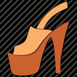 footwear, heel shoes, ladies sandal, ladies wedge sandal, sandal, wedge sandal, woman heel icon