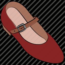 dance shoes, fashion shoes, flat shoes, lady shoes, pump shoes, school shoes, women shoes icon