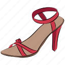 heel sandal, ladies sandal, part shoes, sandal, summer sandal icon