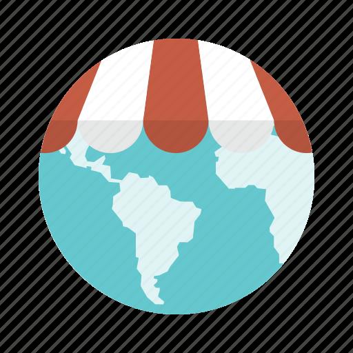 globe, international, international business, retail, shop, store chain, worldwide icon