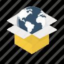 box, earth, global, globe, international, world, worldwide delivery icon