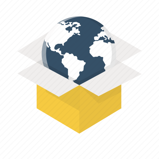 box, earth, global, globe, international, world, worldwide delivery icon