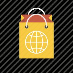 bag, earth, global, globe, shop worldwide, shopping bag, world icon