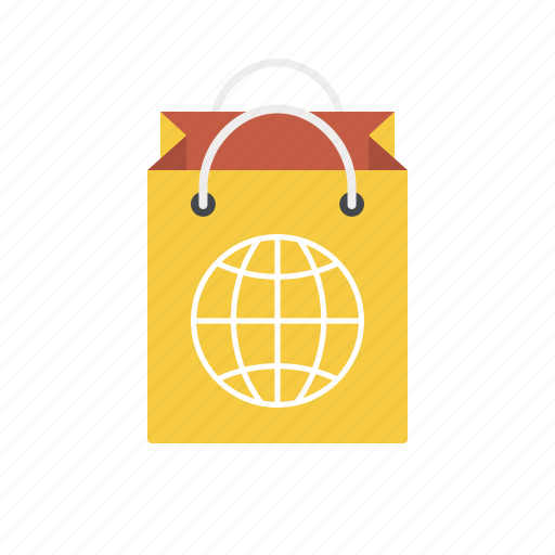 bag, earth, global, globe, shop worldwide, shopping bag, world icon