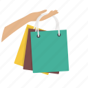 buy, goods, hand, paper bags, sale, shop, shopping icon