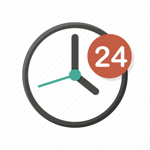 all day, clock, helpdesk, hotline, opening hours, twenty four hours, working hours icon
