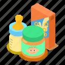 baby, babyfood, breakfast, cartoon, food, isometric, object