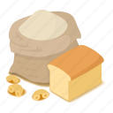 bag, bakery, flour, food, isometric, natural, object