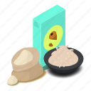 bag, bakery, flour, food, isometric, nut, object