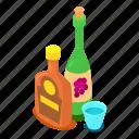 alcohol, bar, beverage, bottle, cartoon, isometric, object