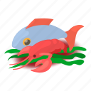 fish, food, isometric, object, oyster, salmon, sea