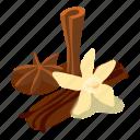 bean, flower, isometric, object, orchid, pod, vanilla