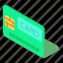 bank, banking, card, credit, debit, isometric, object