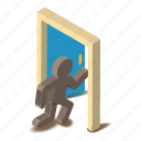 door, entrance, exit, isometric, lock, object, open