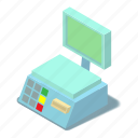 balance, electronic, isometric, object, scales, weigh, white icon