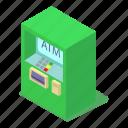 atm, cash, isometric, machine, money, object, transaction