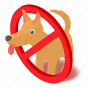forbidden, isometric, no, entry, object, dog, allowed icon