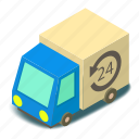 auto, car, delivery, isometric, object, post, truck
