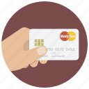 buy, card, credit card, hand, master card, payment, shop icon