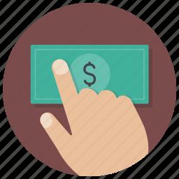 buy, cash, dollar, hand, money, payment, shop icon