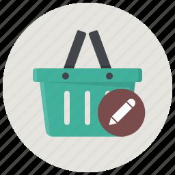 basket, cart, edit basket, review basket, shop, shopping basket, store icon