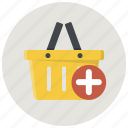 add, add to basket, add to cart, basket, cart, shop, shopping basket icon