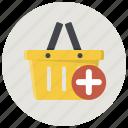 add, add to basket, add to cart, basket, cart, shop, shopping basket icon