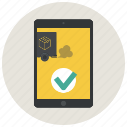 app, confirmation, courier, delivery app, ipad, order, track delivery icon