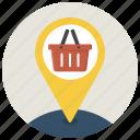basket, location, marker, navigation, pin, shop, shopping icon