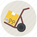box, cargo, cargo cart, cart, courier, deliver, package icon