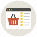 basket, browser, buy, ecommerce, shop, shopping, shopping basket icon