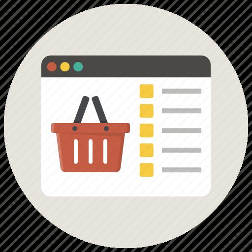 basket, browser, buy, ecommerce, shop, shopping, shopping basket icon