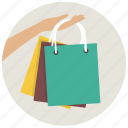 gift bags, hand, paper bags, purchases, sale, shop, shopping icon