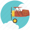 airplane, courier, deliver, delivery service, plane, send package, shipping icon