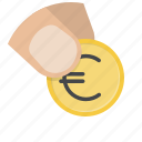 buy, coin, euro, hand, money, payment, shop icon