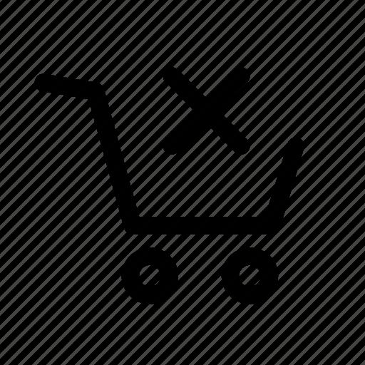 basket, cart, checkout, delete, remove, shop, store icon