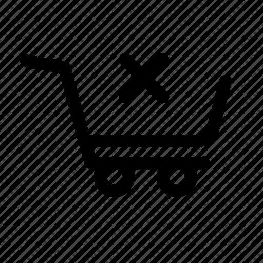 basket, cart, commerce, delete, market, remove, shop icon