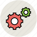 cog, cogwheels, configuration, gear, setting, two cogs icon