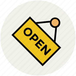 door label, open, open badge, open tag, shop open, tag icon