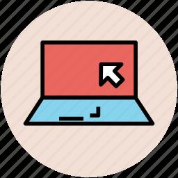 arrow, click, internet, laptop, online shopping icon