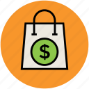 bag, dollar sign, online shopping, paper bag, shopper bag, shopping bag, tote bag icon