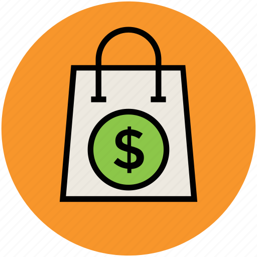 bag, dollar sign, online shopping, paper bag, shopper bag, shopping bag, tote bag icon