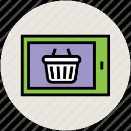 basket, ecommerce, online shopping, screen, shop, shopping, shopping basket icon