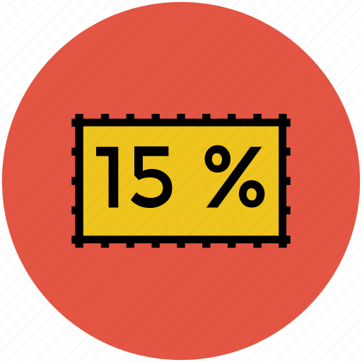 discount, discount offer, fifteen percent, offer, online shopping, shopping discount icon