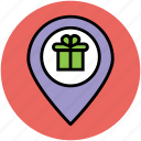gift shop location, gps, location pin, location pointer, map pin, navigation, shopping area icon