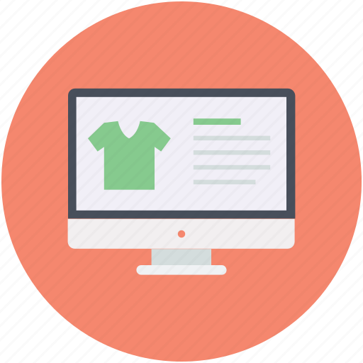 computer screen, ecommerce, monitor webpage, online shopping, webshop icon