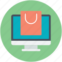 eshopping eshop, monitor, online shopping, shopping theme, tote bag icon