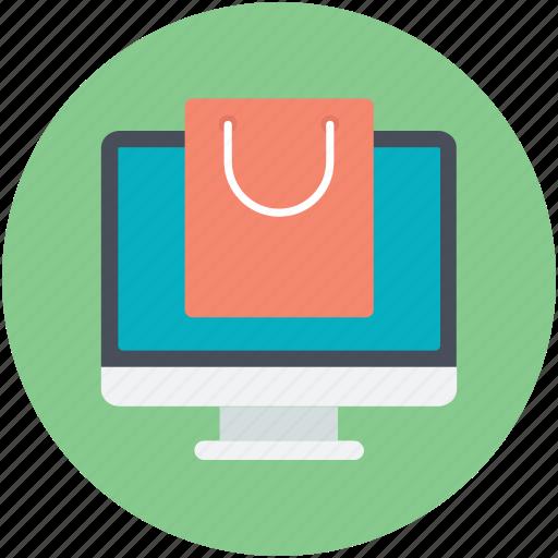 eshopping eshop, monitor, online shopping, shopping theme, tote bag icon