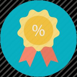 percent sign, percentage sign, retail, ribbon badge, sale element icon